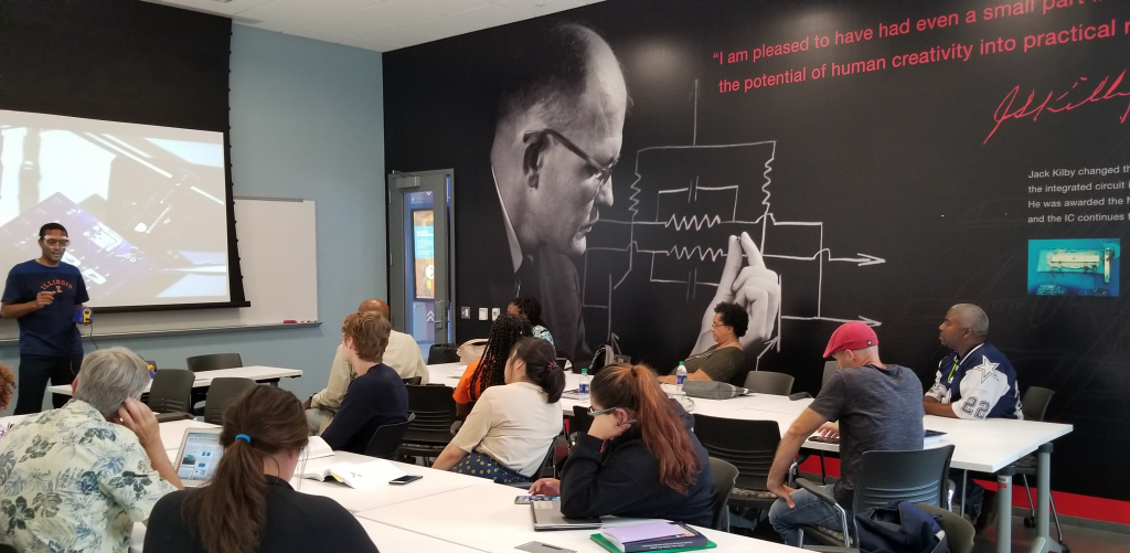 Dr. Goddard teaching teachers in a classroom at the Summer 2019 Institute.